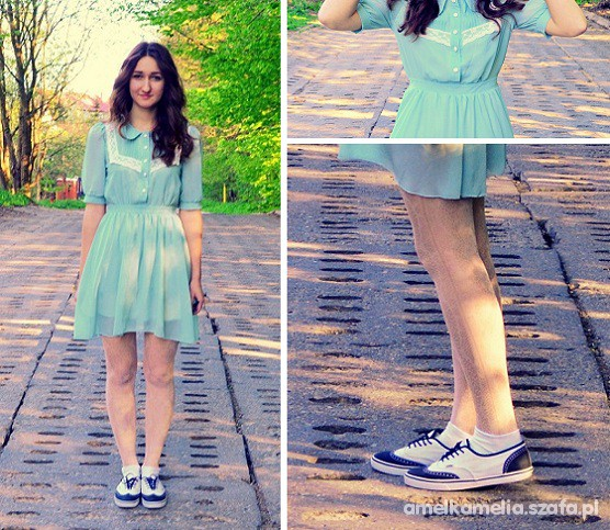Vintage miętowa sukienka