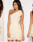 ASOS Tfnc sukienka szyfon grecka kremowa