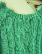 nowy sweter miętowy warkocze 37 zł
