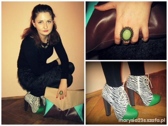 Mój styl Zeberka w połączeniu z zielenią
