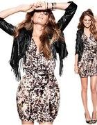 Sukienka w panterke H&M 40 42 falbany panterka
