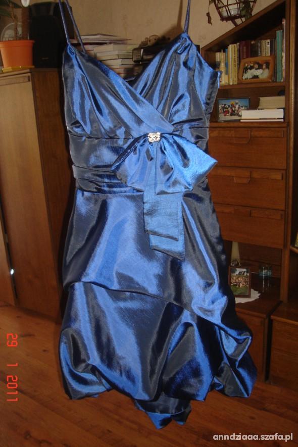 Suknie i sukienki Szafirowa sukienka wieczorowa