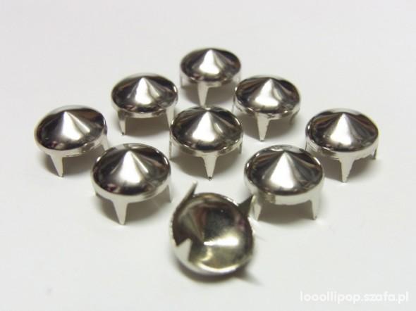 Pozostałe ćwieki stozek okragłe 10 12 mm srebrne