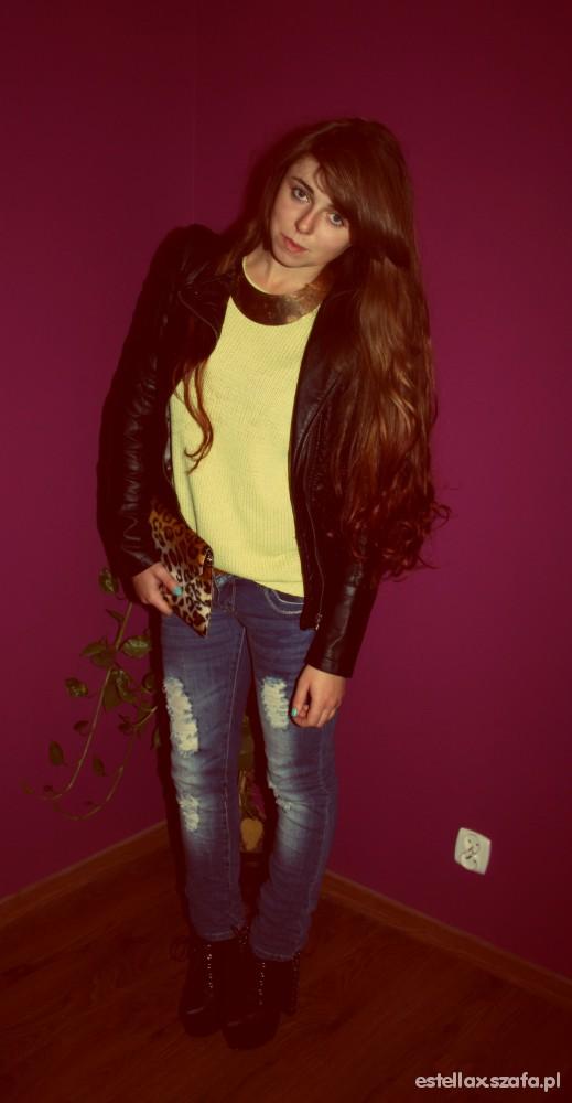 Mój styl limonkowy sweter