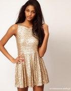 Sukienka TFNC Asos cekiny złota i czarna