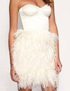 Feather Asos Bandeau Strapless Party Cream