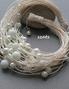 biały naszyjnik ślubny perły nowocześnie