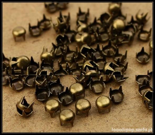 Pozostałe ćwieki pukle okrągłe sr 5mm stare złoto miedziane
