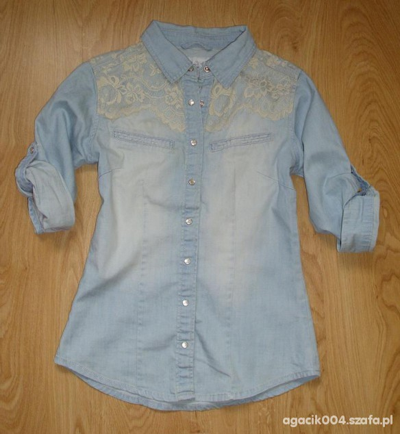 Koszula jeans koronka POSZUKIWANA