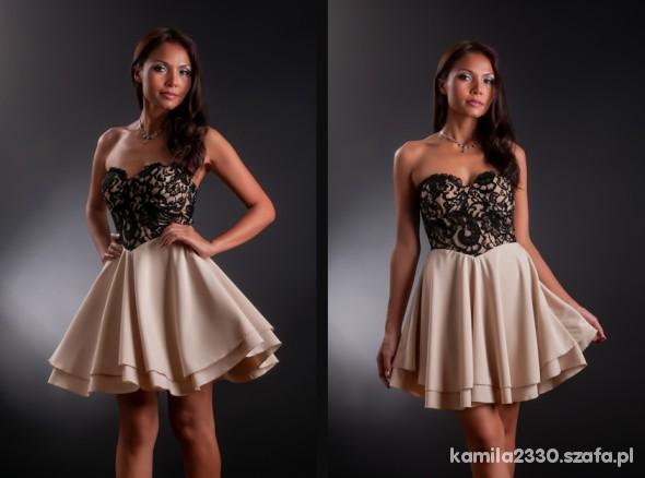 Sukienka beżowa gorset L