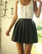skórzana rozkloszowana spódnica H&M...