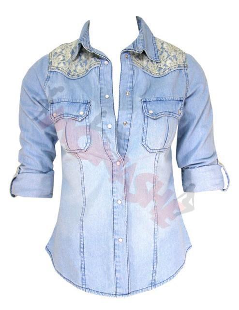 koszula jeans 40 L dżinsowa jeansowa koronka
