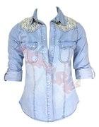 koszula jeans 40 L dżinsowa jeansowa koronka...