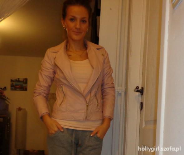 spodnie HM nude CHINOS haremki bezowe PASEK w Spodnie