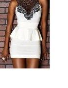 Biała sukienka z beskinka i koronką rozmiar S