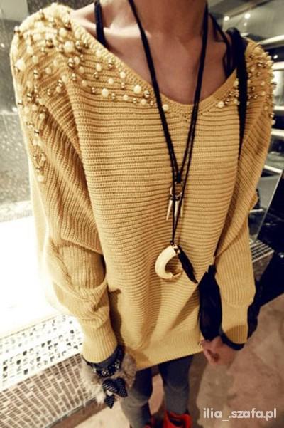 Sweter złoty beżowy perełki MUST HAVE