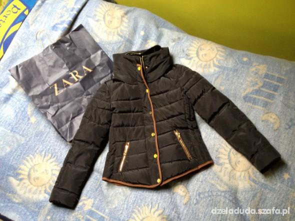 Zara puchowa pikowana kurtka czarna zima S M