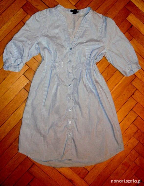 Długa koszula tunika HM niebiesko biała w Koszule Szafa.pl