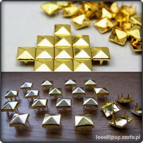Pozostałe złote ćwieki PIRAMIDKI 12mm