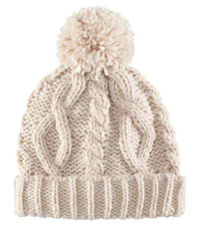Nakrycia głowy Beżowa i burgundowa wełniana czapka z pomponem H&M
