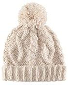 Beżowa i burgundowa wełniana czapka z pomponem H&M...
