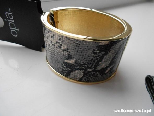 TOTALNA WYPRZEDAŻ złota bransoletka wężowa skóra