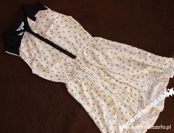 Sukienka jaskółki kołnierzyk collar asymetryczna