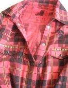 flanelowa koszula w krate z ćwiekami