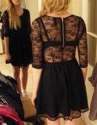 koronkowa czarna sukienka rozkloszowana h&m 36