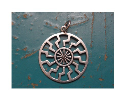 kolovrat kołowrót słowiański symbol pagan srebro