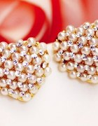 Kolczyki perłowe serduszka z cyrkoniami NOWOŚĆ
