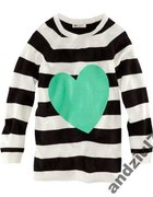 Sweter tunika paski serce miętowe H&M xs lub s...