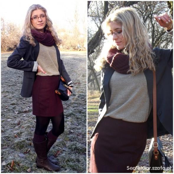 Mój styl Złota bluzka i tweedowa spódniczka