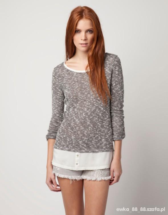 bershka sweter unikat 38 z łączonych materiałów