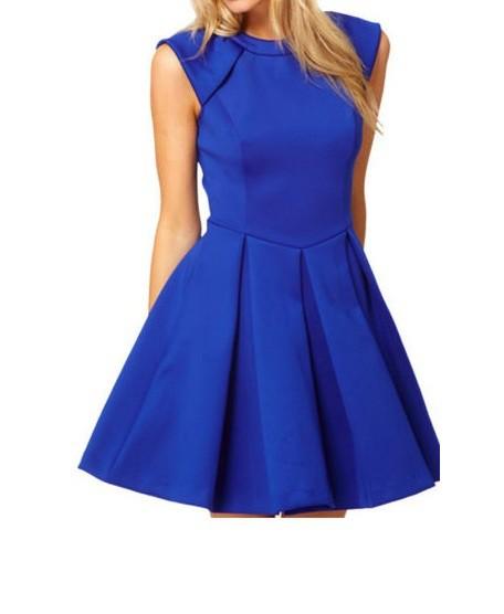 Sukienka kobaltowa rozkloszowana z suwakiem