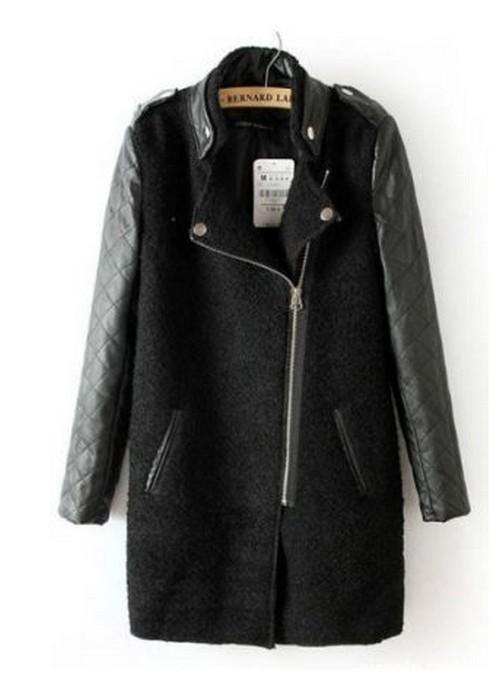 Płaszcz skórzane rękawy czarny jak ZARA pikowane