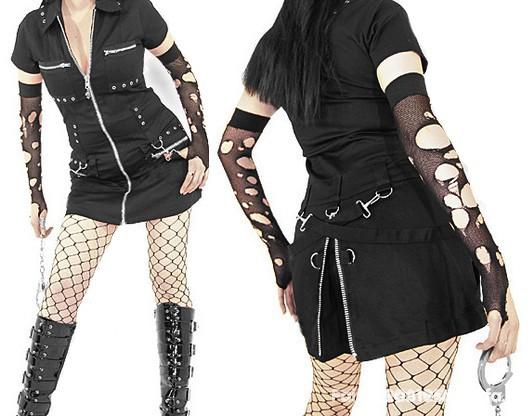 tunika sukienka goth cyber goth klamry