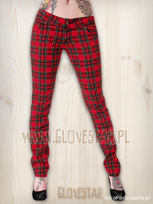 PUNK szkocka krata spodnie Glovestar i H&M S M