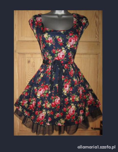 4379534e52 ROZKLOSZOWANA SUKIENKA pin up retro floral w Suknie i sukienki ...