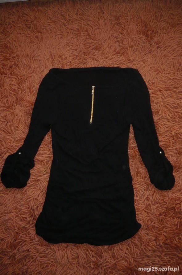 czarna tunika złoty zip podwijane rękawy