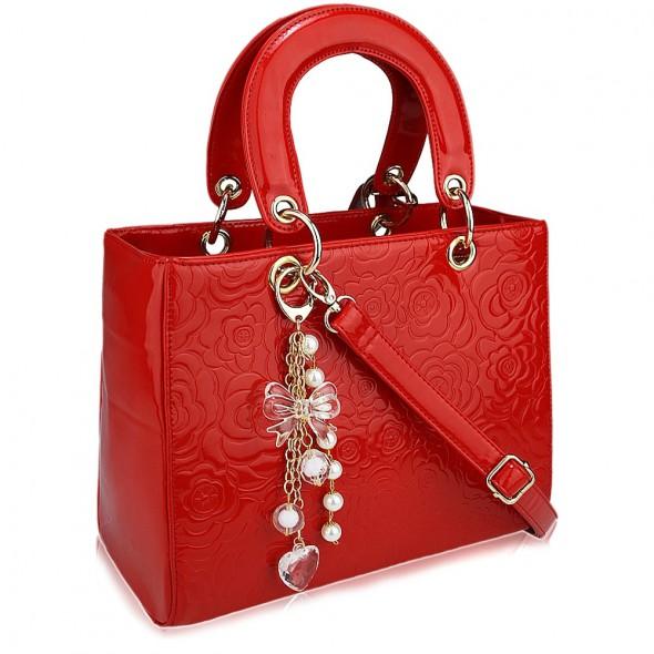 6cf6f3a1344b6 LADY DIOR czerwona lakierowana torebka kuferek w Torebki na co dzień ...