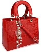 LADY DIOR czerwona lakierowana torebka kuferek...