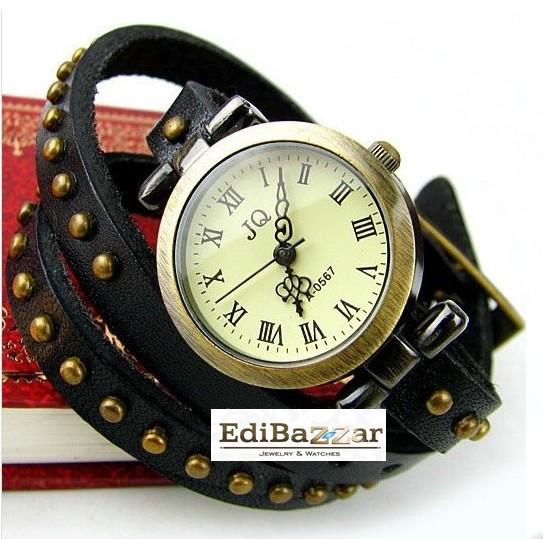 Skórzany Zegarek punk ćwieki bransoletka retro Vin