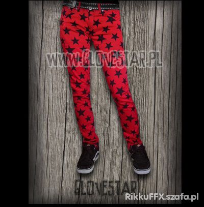 Czerwone spodnie Glovestar w gwiazdki...