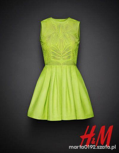 H&M Piękna zielona sukienka