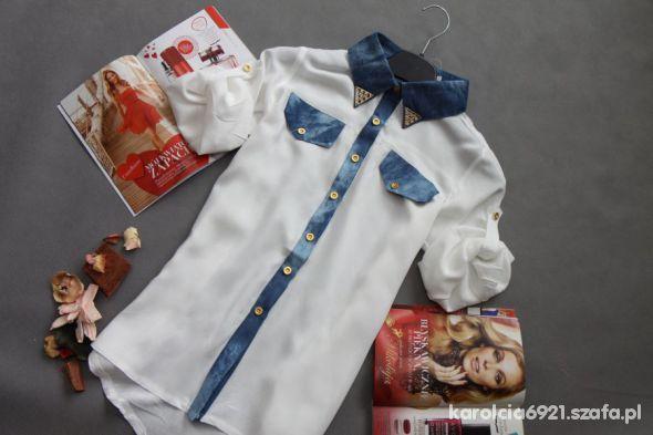 Koszule OVERSIZ KOSZULA MGIEŁKA ĆWIEKI PODWIJANY RĘKAW