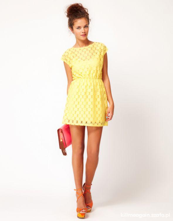 RIVERISLAND cytrynka KORONKOWA sukienka