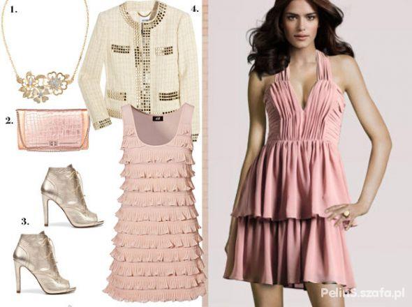 Na specjalne okazje Sukienka Nude Pink Blady Róż od HM czy modna