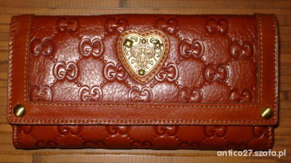 Piękny portfel GUCCI karmel rudy...