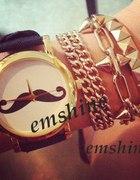 Zegarek WĄSY mustache czarno złoty